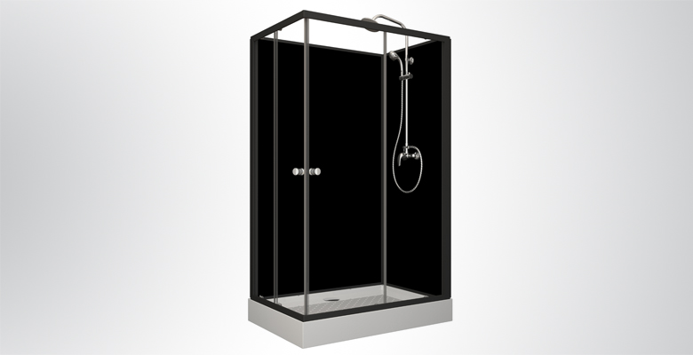 Cabine de douche complète BLACK HAPPY Rectangle | Allibert Belgique
